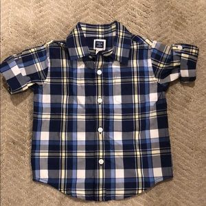Blue plaid short sleeve button down